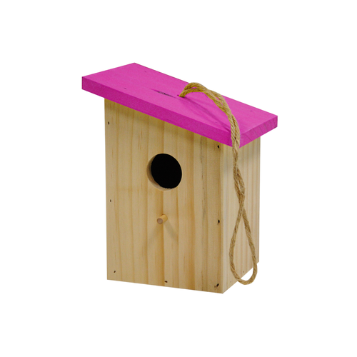 BIRDHOUSE COLORED ROOF PINK